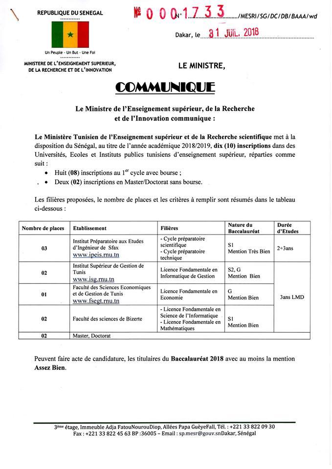Bourses d'études pour la Tunisie