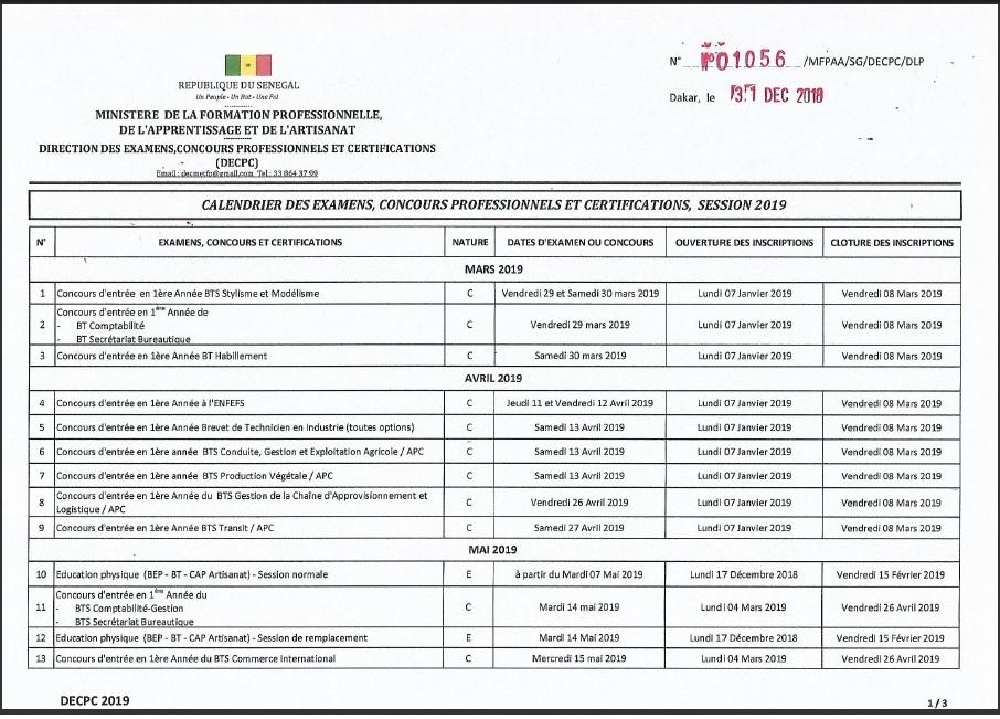 Concours Calendrier.Calendrier Des Concours 2019 Au Senegal Consultez Toutes